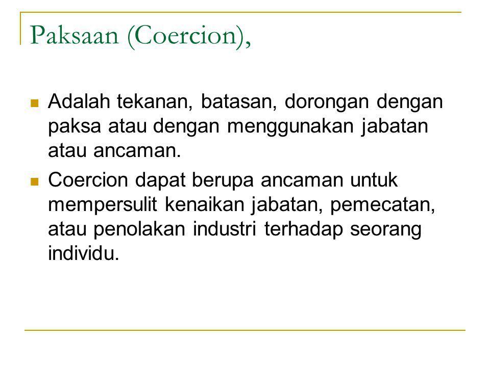 Paksaan (Coercion), Adalah tekanan, batasan, dorongan dengan paksa atau dengan menggunakan jabatan atau ancaman.