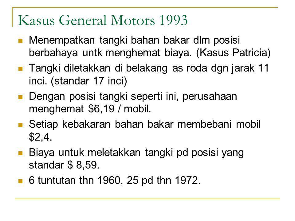 Kasus General Motors 1993 Menempatkan tangki bahan bakar dlm posisi berbahaya untk menghemat biaya.