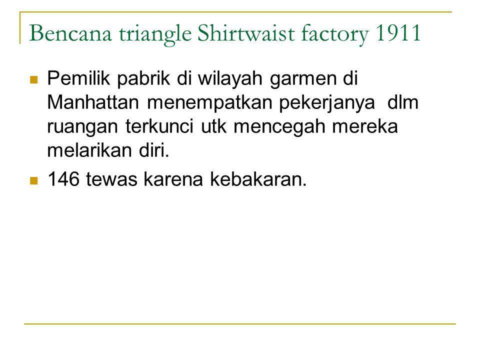 Bencana triangle Shirtwaist factory 1911 Pemilik pabrik di wilayah garmen di Manhattan menempatkan pekerjanya dlm ruangan terkunci utk mencegah mereka melarikan diri.