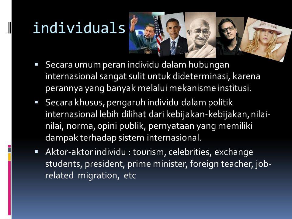 individuals  Secara umum peran individu dalam hubungan internasional sangat sulit untuk dideterminasi, karena perannya yang banyak melalui mekanisme institusi.