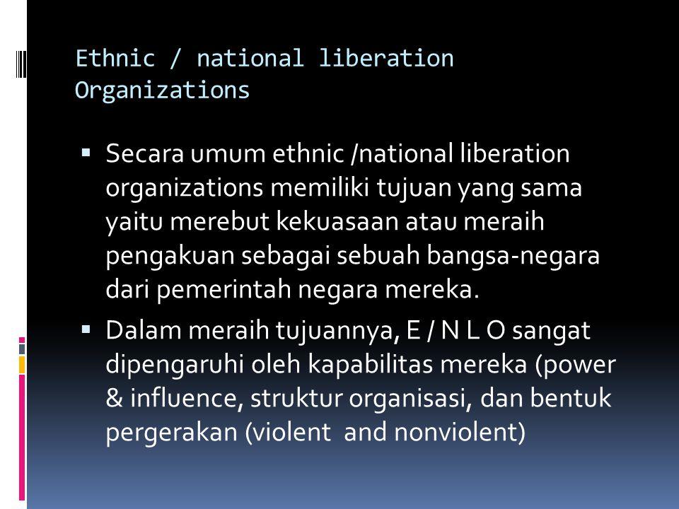 Ethnic / national liberation Organizations  Secara umum ethnic /national liberation organizations memiliki tujuan yang sama yaitu merebut kekuasaan atau meraih pengakuan sebagai sebuah bangsa-negara dari pemerintah negara mereka.