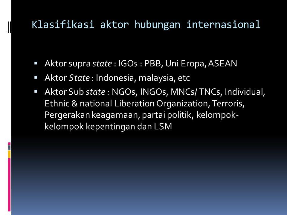 Klasifikasi aktor hubungan internasional  Aktor supra state : IGOs : PBB, Uni Eropa, ASEAN  Aktor State : Indonesia, malaysia, etc  Aktor Sub state : NGOs, INGOs, MNCs/ TNCs, Individual, Ethnic & national Liberation Organization, Terroris, Pergerakan keagamaan, partai politik, kelompok- kelompok kepentingan dan LSM
