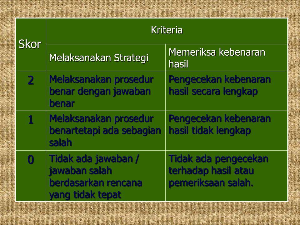 Skor Kriteria Melaksanakan Strategi Memeriksa kebenaran hasil 2 Melaksanakan prosedur benar dengan jawaban benar Pengecekan kebenaran hasil secara len