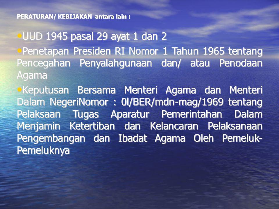 PERATURAN/ KEBIJAKAN antara lain : UUD 1945 pasal 29 ayat 1 dan 2 UUD 1945 pasal 29 ayat 1 dan 2 Penetapan Presiden RI Nomor 1 Tahun 1965 tentang Penc