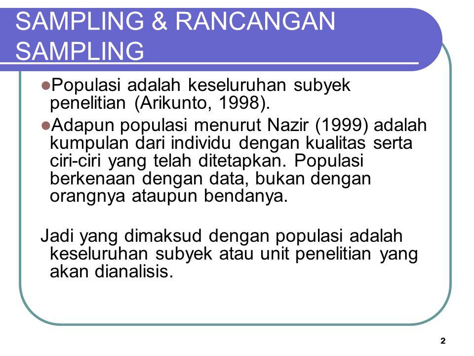 2 SAMPLING & RANCANGAN SAMPLING Populasi adalah keseluruhan subyek penelitian (Arikunto, 1998). Adapun populasi menurut Nazir (1999) adalah kumpulan d