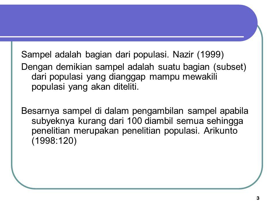 3 Sampel adalah bagian dari populasi. Nazir (1999) Dengan demikian sampel adalah suatu bagian (subset) dari populasi yang dianggap mampu mewakili popu