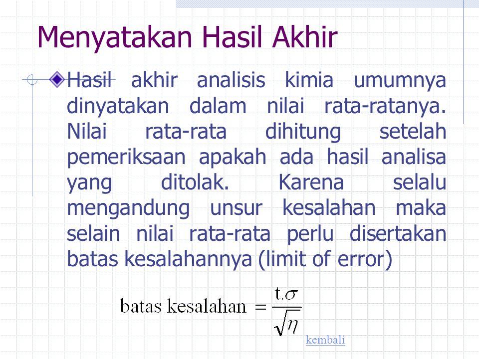 Ukuran ketepatan Kesalahan mutlak (d) d = I μ – x I μ = nilai sebenarnya Kesalahan nisbi dalam persen Dalam ppt (bagian perseribu) kembali