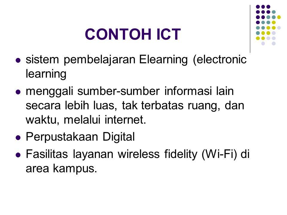 CONTOH ICT sistem pembelajaran Elearning (electronic learning menggali sumber-sumber informasi lain secara lebih luas, tak terbatas ruang, dan waktu,