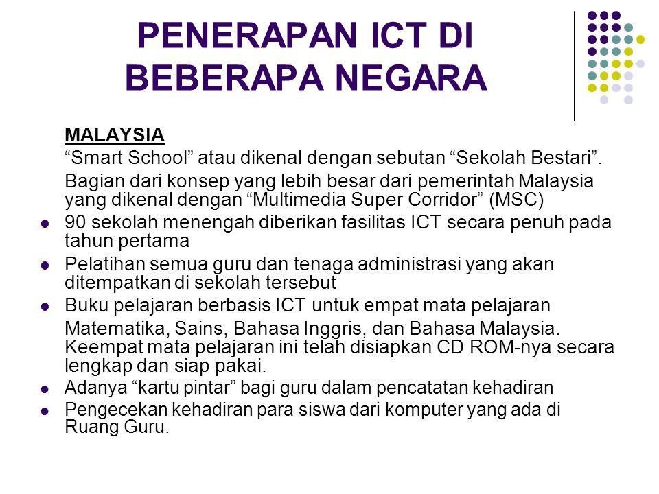 """PENERAPAN ICT DI BEBERAPA NEGARA MALAYSIA """"Smart School"""" atau dikenal dengan sebutan """"Sekolah Bestari"""". Bagian dari konsep yang lebih besar dari pemer"""