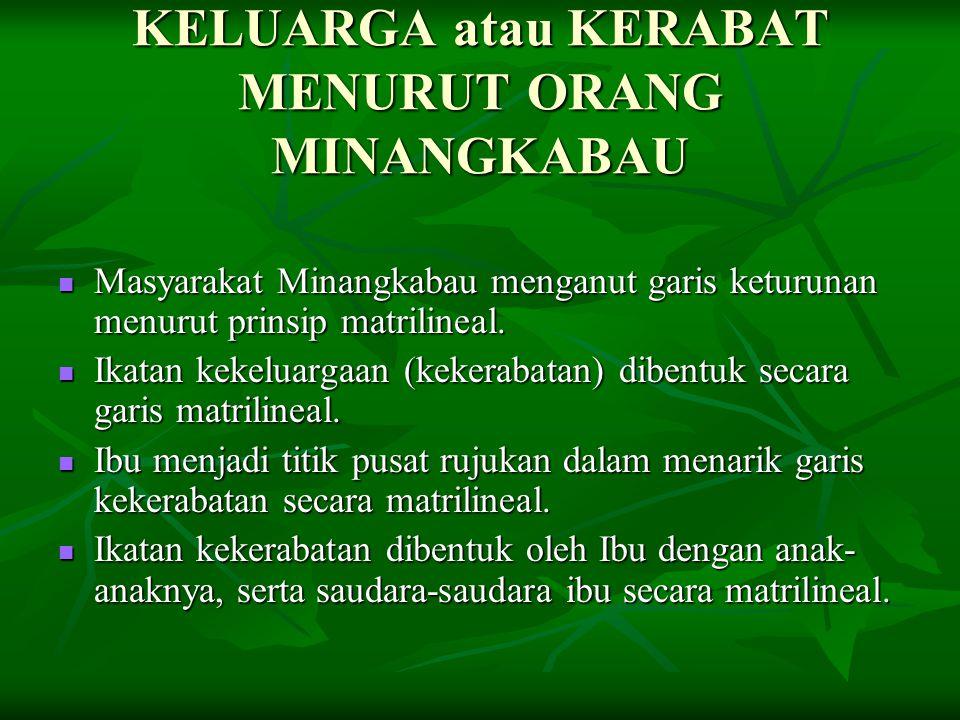Konsekwensi Prinsip Garis Kekerabatan Matrilineal Masyarakat Minangkabau mengenal keluarga komunal (extended family) bukan keluarga inti (nuclear family).