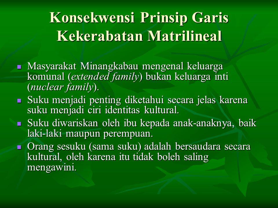 Konsekwensi Prinsip Garis Kekerabatan Matrilineal Masyarakat Minangkabau mengenal keluarga komunal (extended family) bukan keluarga inti (nuclear fami