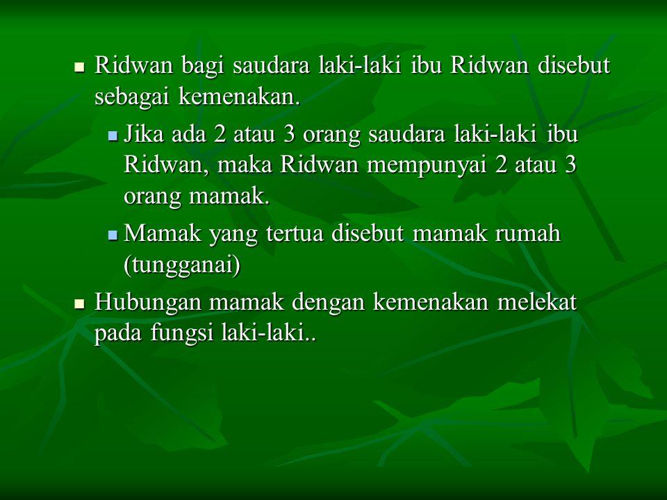 Ridwan bagi saudara laki-laki ibu Ridwan disebut sebagai kemenakan. Ridwan bagi saudara laki-laki ibu Ridwan disebut sebagai kemenakan. Jika ada 2 ata