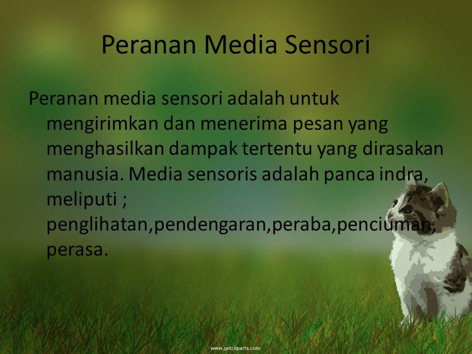 Peranan Media Sensori Peranan media sensori adalah untuk mengirimkan dan menerima pesan yang menghasilkan dampak tertentu yang dirasakan manusia. Medi