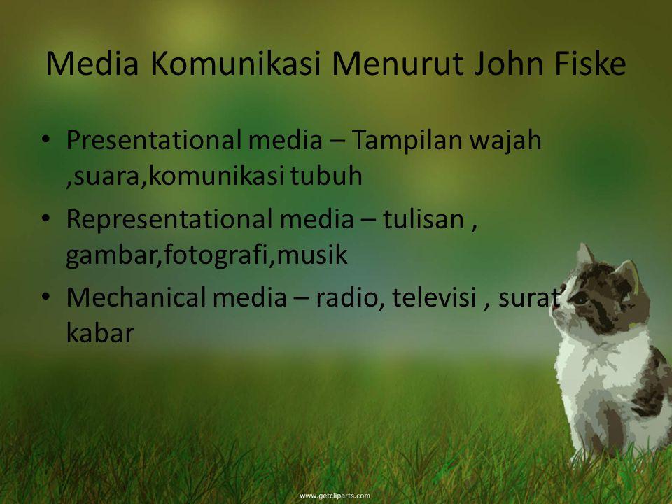 Media Komunikasi Menurut John Fiske Presentational media – Tampilan wajah,suara,komunikasi tubuh Representational media – tulisan, gambar,fotografi,mu