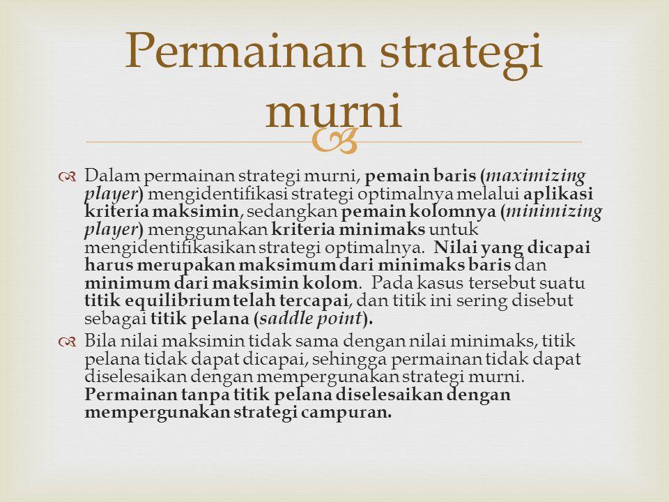  Permainan strategi murni  Dalam permainan strategi murni, pemain baris ( maximizing player ) mengidentifikasi strategi optimalnya melalui aplikasi