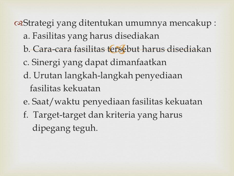   Strategi yang ditentukan umumnya mencakup : a. Fasilitas yang harus disediakan b. Cara-cara fasilitas tersebut harus disediakan c. Sinergi yang da