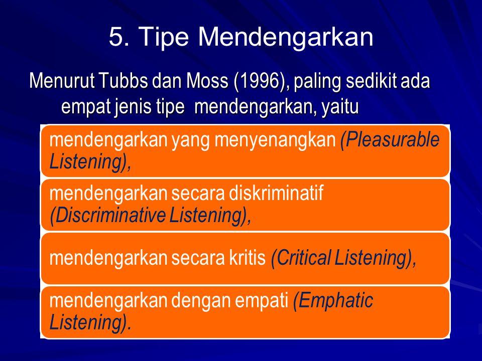 5. Tipe Mendengarkan Menurut Tubbs dan Moss (1996), paling sedikit ada empat jenis tipe mendengarkan, yaitu mendengarkan yang menyenangkan (Pleasurabl