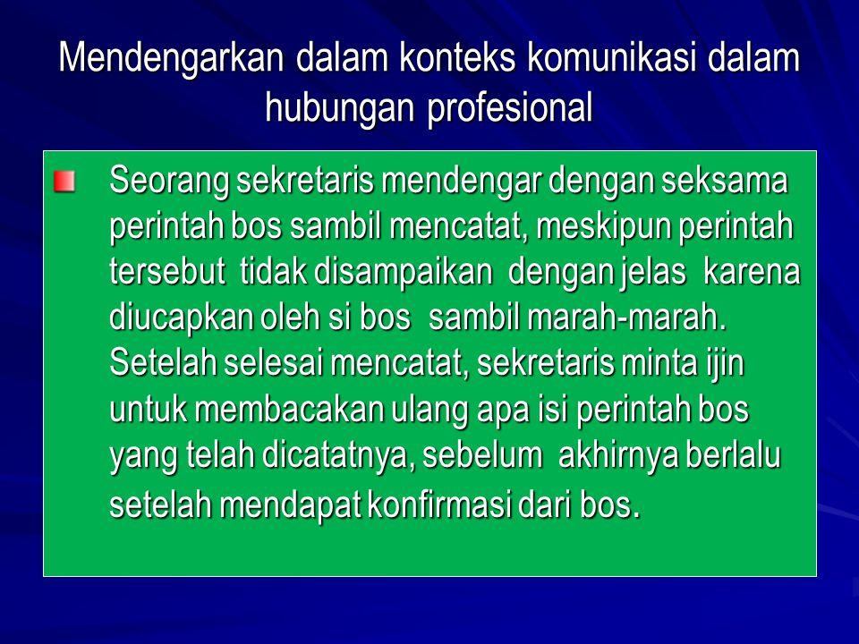 Mendengarkan dalam konteks komunikasi dalam hubungan profesional Seorang sekretaris mendengar dengan seksama perintah bos sambil mencatat, meskipun pe