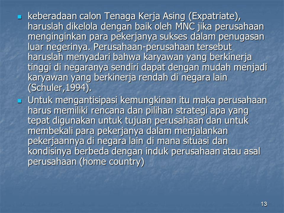 13 keberadaan calon Tenaga Kerja Asing (Expatriate), haruslah dikelola dengan baik oleh MNC jika perusahaan menginginkan para pekerjanya sukses dalam
