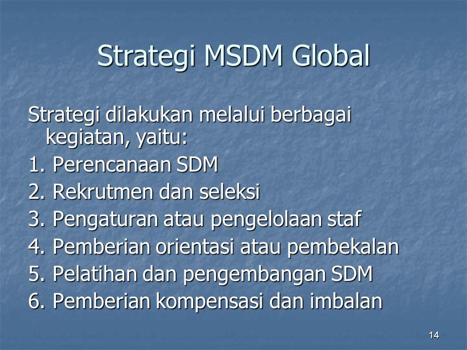 14 Strategi MSDM Global Strategi dilakukan melalui berbagai kegiatan, yaitu: 1. Perencanaan SDM 2. Rekrutmen dan seleksi 3. Pengaturan atau pengelolaa
