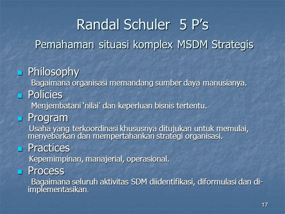 17 Randal Schuler 5 P's Pemahaman situasi komplex MSDM Strategis Philosophy Philosophy Bagaimana organisasi memandang sumber daya manusianya. Bagaiman
