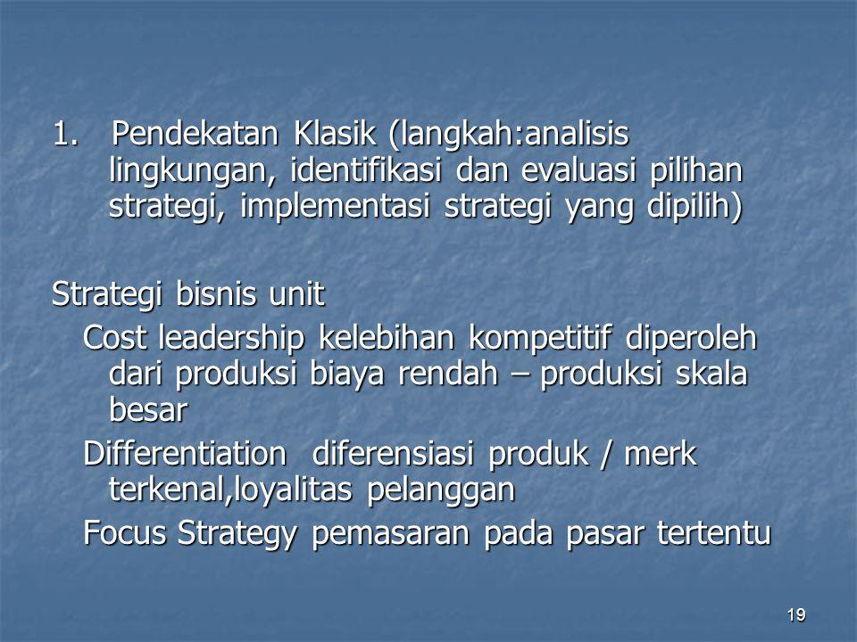 19 1. Pendekatan Klasik (langkah:analisis lingkungan, identifikasi dan evaluasi pilihan strategi, implementasi strategi yang dipilih) Strategi bisnis