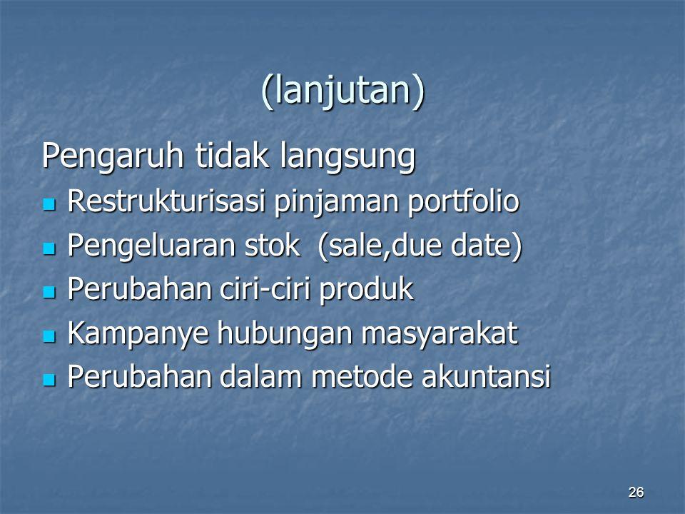 26 (lanjutan) Pengaruh tidak langsung Restrukturisasi pinjaman portfolio Restrukturisasi pinjaman portfolio Pengeluaran stok (sale,due date) Pengeluar