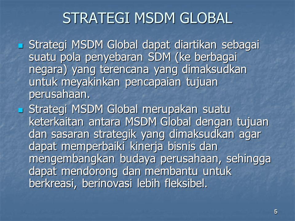 5 STRATEGI MSDM GLOBAL Strategi MSDM Global dapat diartikan sebagai suatu pola penyebaran SDM (ke berbagai negara) yang terencana yang dimaksudkan unt