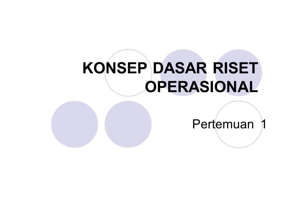 Perkembangan Riset Operasi Riset operasi berasal dari Inggris dan merupakan suatu hasil studi antara team militer bersama dengan para ilmuwan saat operasi militer selama Perang Dunia II.
