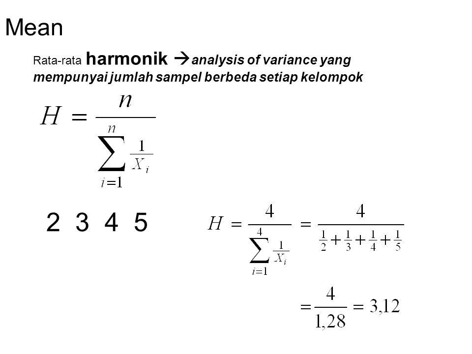 Mean Untuk data berkelompok (distribusi frekuensi), rata-rata ukur dihitung dengan rumus ;