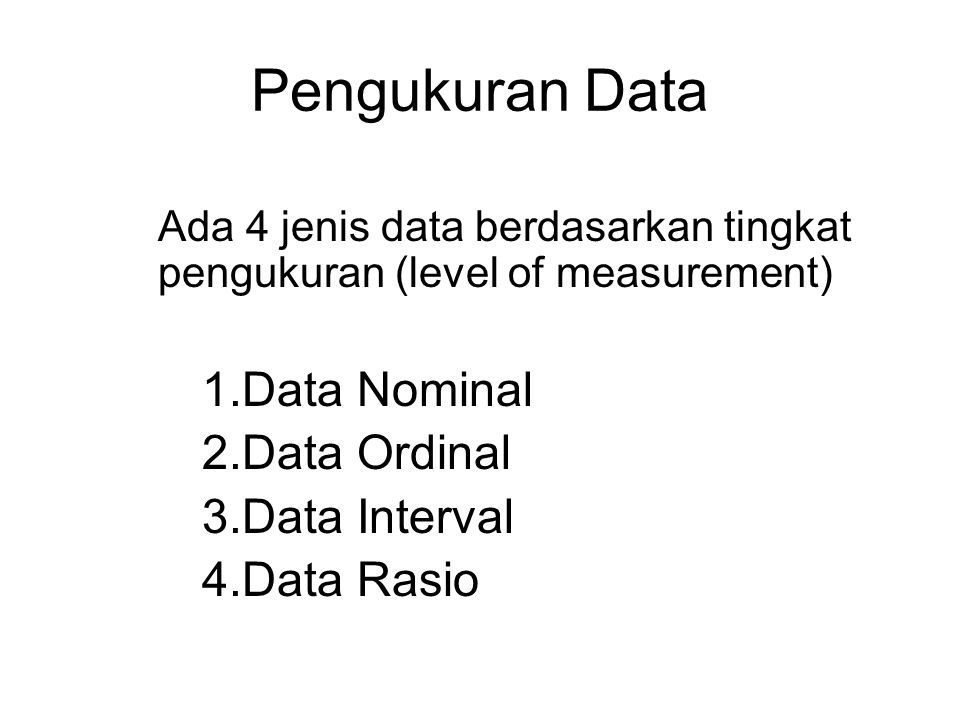 TIPE DATA 1.Data kuantitatif Hasil observasi (pengamatan) atau sesuatu hal yang bisa dinyatakan dalam angka (numerik) Contoh: data penjualan barang, j