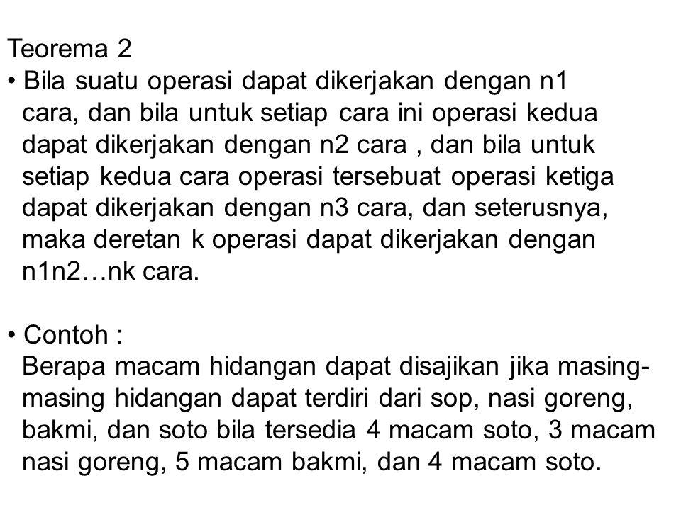 Menghitung Titik Sampel Teorema 1 : Bila suatu operasi dapat dilakukan dengan n1cara, bila untuk tiap cara ini operasi kedua dapat dikerjakan dengan n