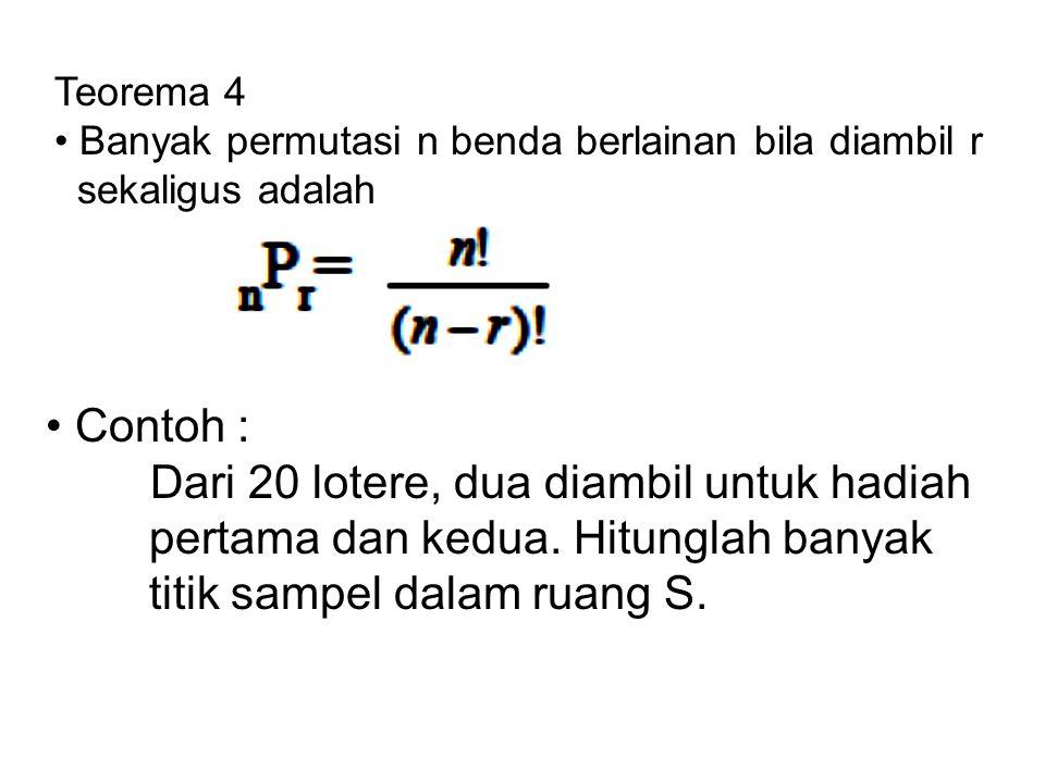 Teorema 3 Banyak permutasi n benda yang berlainan adalah n! Contoh : Permutasi empat huruf a,b,c, dan d adalah 4!=24