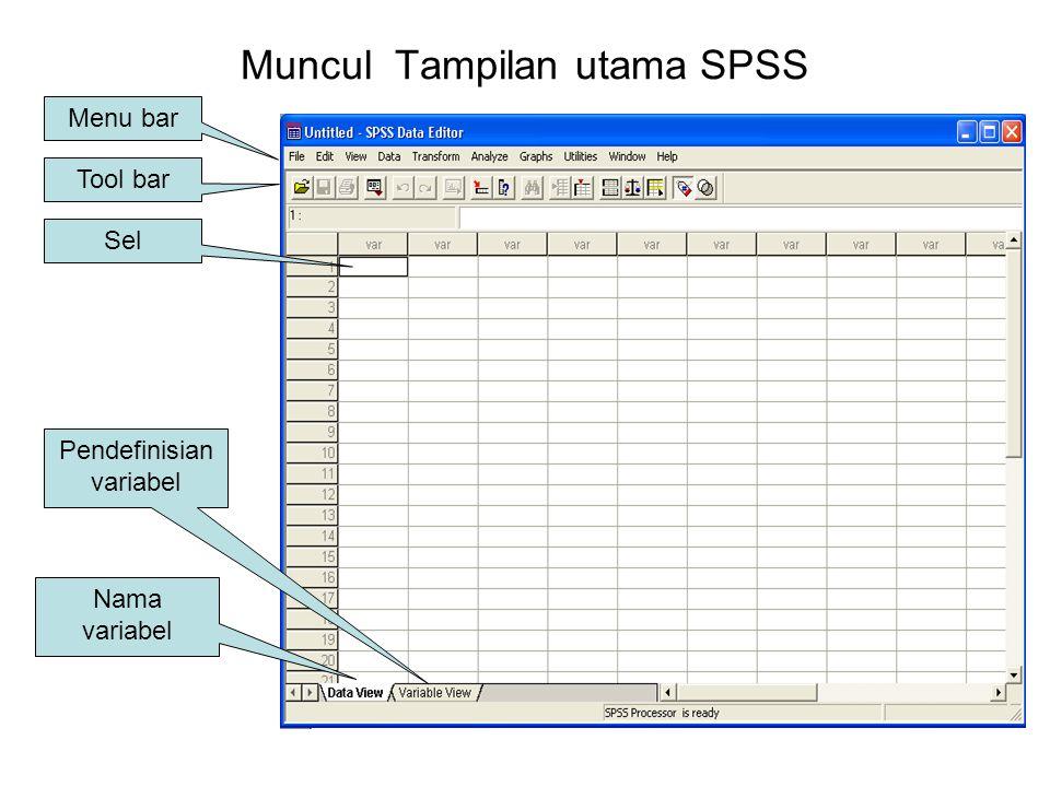 MENGAWALI SPSS 10.0 FOR WINDOWS Langkah yang harus dijalankan pertama kali untuk membuka program adalah sbb: Klik spss : dialog awal Klik
