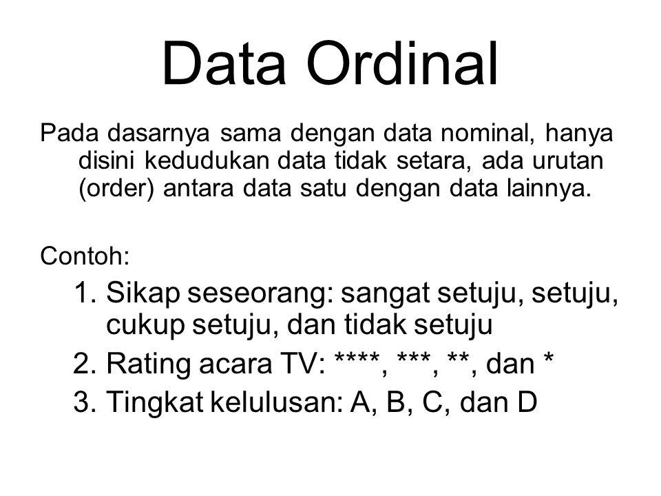 Data Nominal Data yang diukur dengan skala nominal adalah data kualitatif yang bersifat setara (sama) antar data yang satu dengan data yang lain. Tida