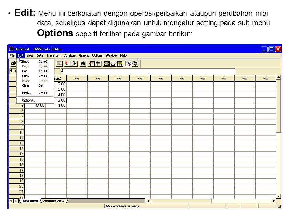 Windows data editor merupakan menu utama : File, Berisi fasilitas yang berhubungan dengan pengelolaan atau manajemen data dan file seperti terlihat da