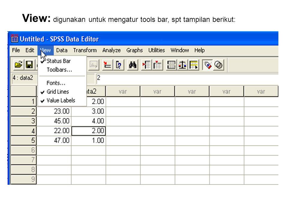 Edit: Menu ini berkaiatan dengan operasi/perbaikan ataupun perubahan nilai data, sekaligus dapat digunakan untuk mengatur setting pada sub menu Option