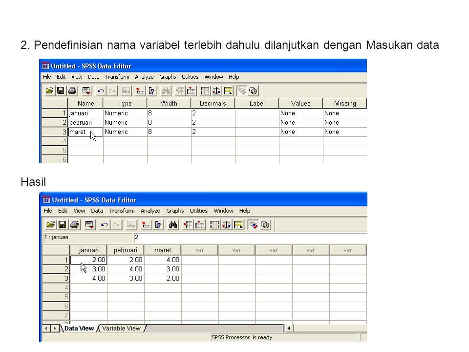 Untuk mengubah nama variabel dengan cara meng-klik variabel view Hasil perubahannya: