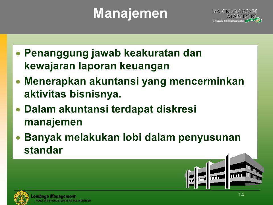 14 Manajemen  Penanggung jawab keakuratan dan kewajaran laporan keuangan  Menerapkan akuntansi yang mencerminkan aktivitas bisnisnya.  Dalam akunta