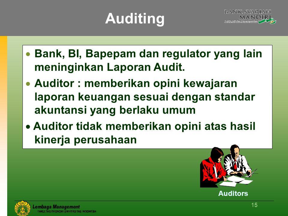 15 Auditing  Bank, BI, Bapepam dan regulator yang lain meninginkan Laporan Audit.  Auditor : memberikan opini kewajaran laporan keuangan sesuai deng