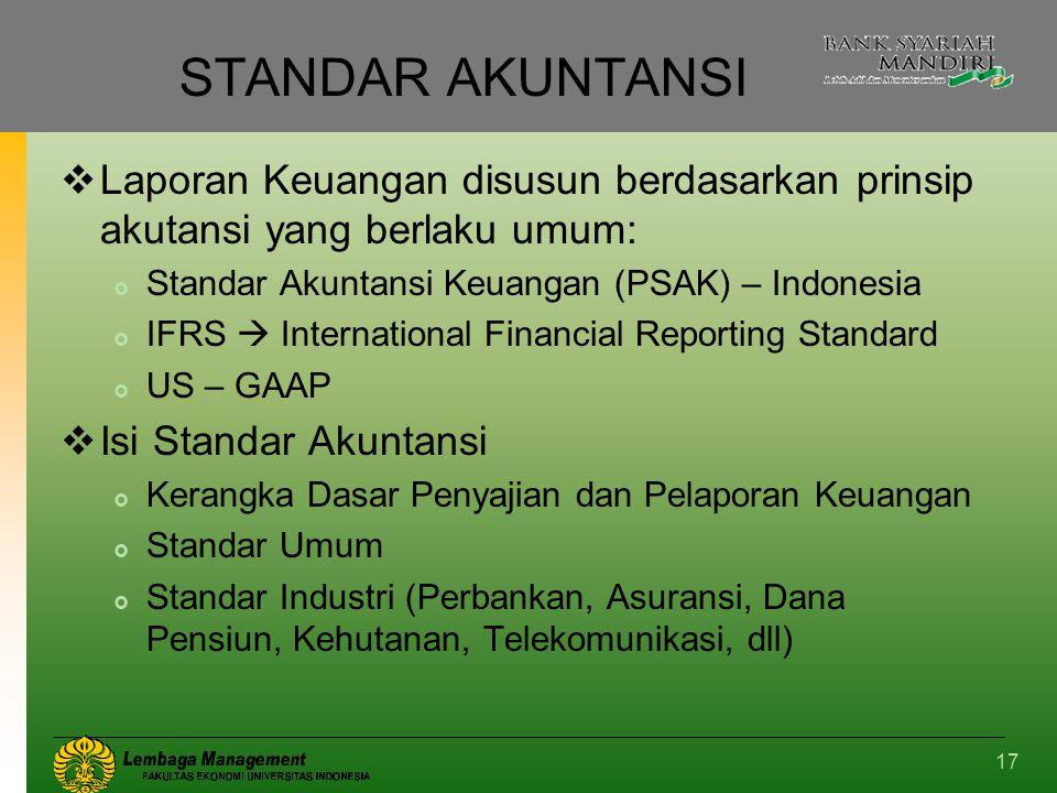 17 STANDAR AKUNTANSI  Laporan Keuangan disusun berdasarkan prinsip akutansi yang berlaku umum:  Standar Akuntansi Keuangan (PSAK) – Indonesia  IFRS