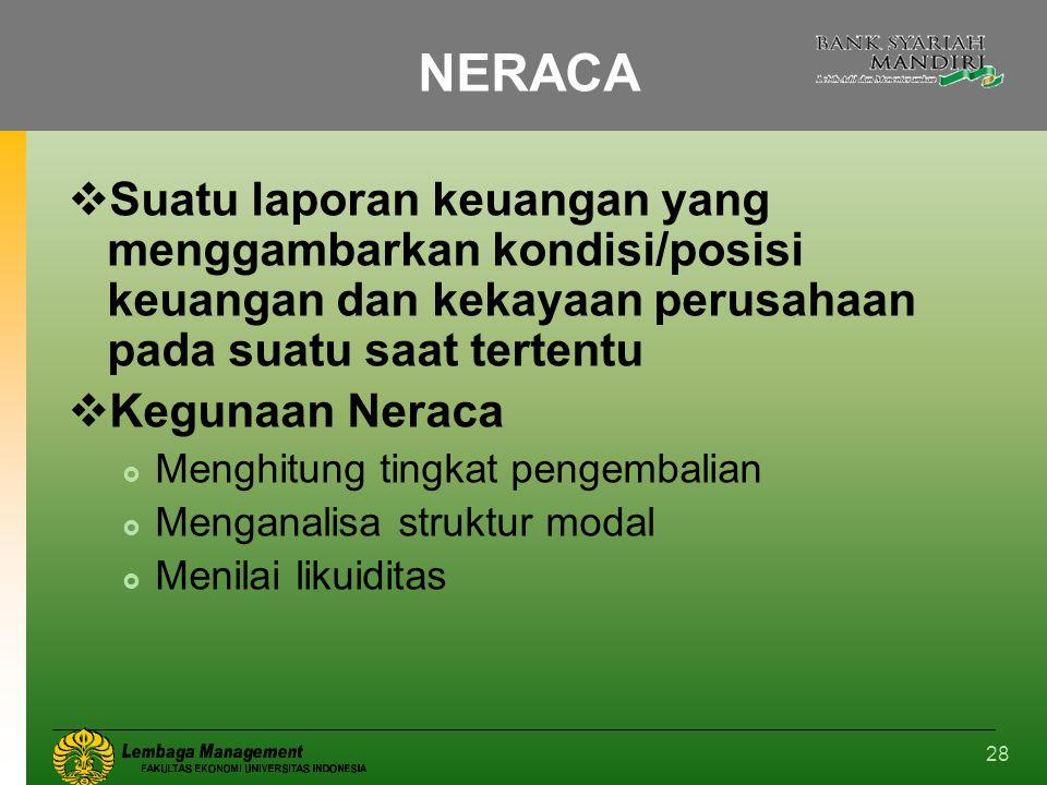 28 NERACA  Suatu laporan keuangan yang menggambarkan kondisi/posisi keuangan dan kekayaan perusahaan pada suatu saat tertentu  Kegunaan Neraca  Men