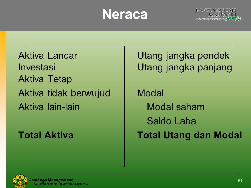 30 Neraca Aktiva LancarUtang jangka pendek Investasi Utang jangka panjang Aktiva Tetap Aktiva tidak berwujudModal Aktiva lain-lainModal saham Saldo La