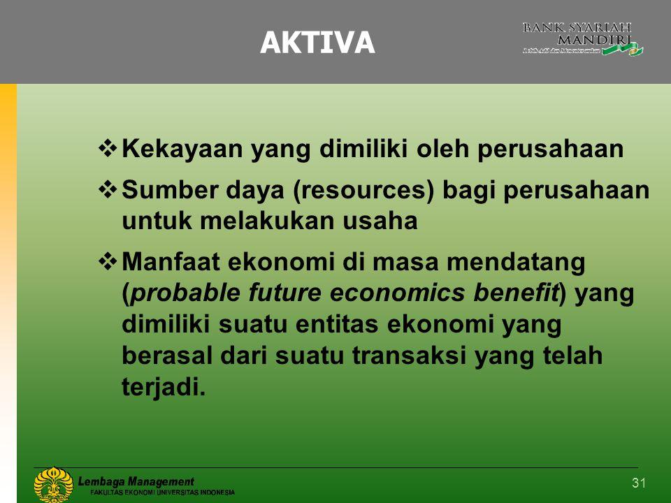 31 AKTIVA  Kekayaan yang dimiliki oleh perusahaan  Sumber daya (resources) bagi perusahaan untuk melakukan usaha  Manfaat ekonomi di masa mendatang