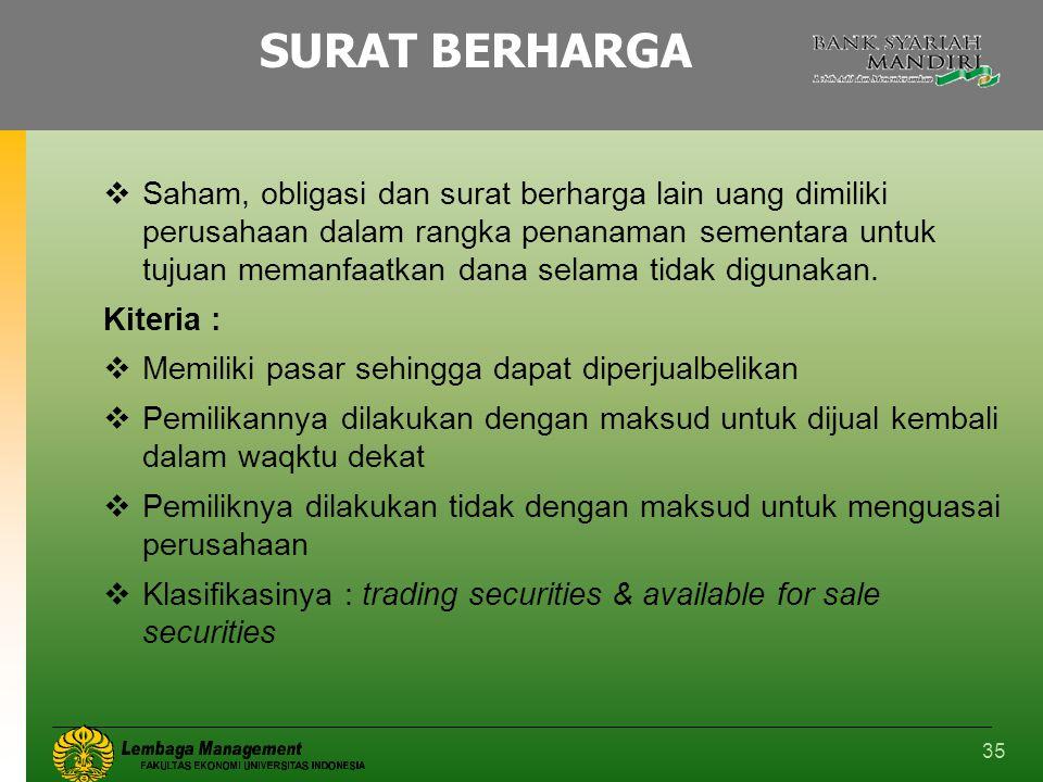 35 SURAT BERHARGA  Saham, obligasi dan surat berharga lain uang dimiliki perusahaan dalam rangka penanaman sementara untuk tujuan memanfaatkan dana s