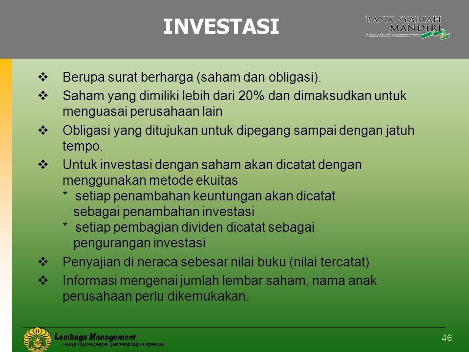 46 INVESTASI  Berupa surat berharga (saham dan obligasi).  Saham yang dimiliki lebih dari 20% dan dimaksudkan untuk menguasai perusahaan lain  Obli