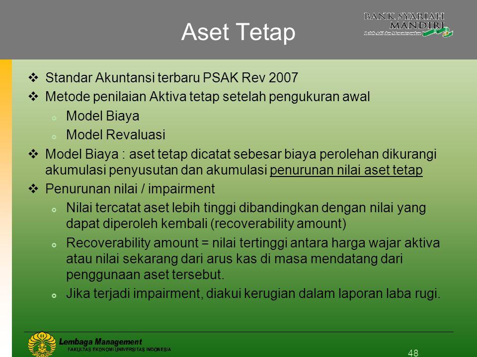 Aset Tetap  Standar Akuntansi terbaru PSAK Rev 2007  Metode penilaian Aktiva tetap setelah pengukuran awal  Model Biaya  Model Revaluasi  Model B