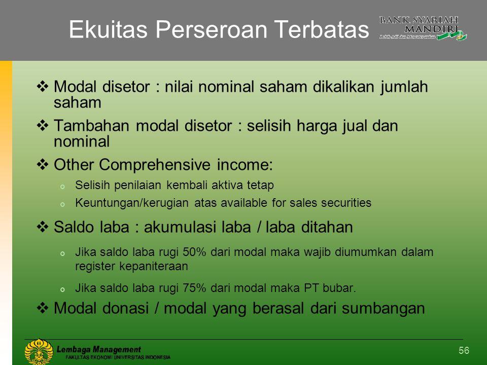 56 Ekuitas Perseroan Terbatas  Modal disetor : nilai nominal saham dikalikan jumlah saham  Tambahan modal disetor : selisih harga jual dan nominal 