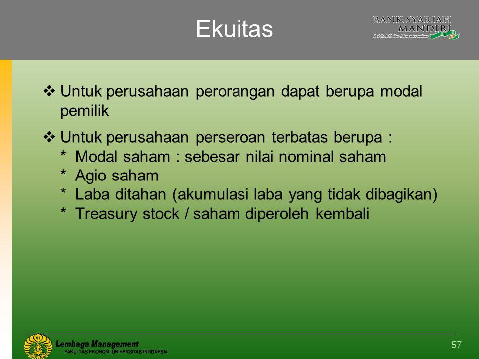 57 Ekuitas  Untuk perusahaan perorangan dapat berupa modal pemilik  Untuk perusahaan perseroan terbatas berupa : * Modal saham : sebesar nilai nomin