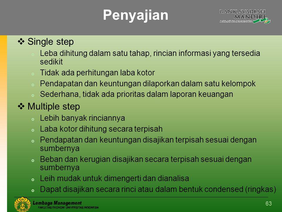 63 Penyajian  Single step  Leba dihitung dalam satu tahap, rincian informasi yang tersedia sedikit  Tidak ada perhitungan laba kotor  Pendapatan d